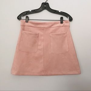 LF stores | light pink suede skirt with pockets
